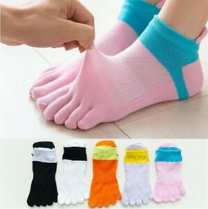5 Pack Women Cotton Five Finger Toe Socks Ankle Multicolor Casual Sport Low Cut