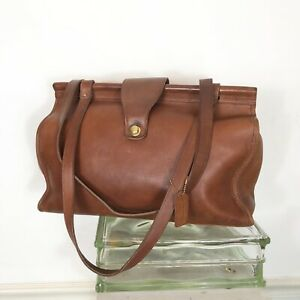 Vintage Coach USA Woman's Classic Brown Tan leather Tote bag Briefcase TABAC