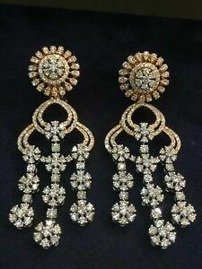 6.52 Carats Round Brilliant Cut Natural Diamonds Dangle Earrings In 585 14K Gold