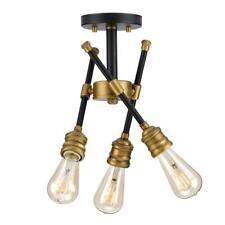 Progress L. Landrum 16 in. 3-Light Black Semi-Flushmount w/Vintage Brass Accents