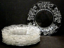 """Set of 8 Vintage CAMBRIDGE Elegant Glass CHANTILLY Lunch 8"""" LUNCHEON PLATE"""