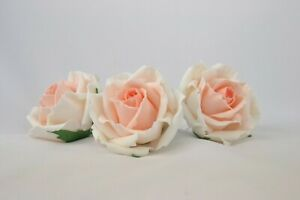 """sugar roses 3"""" set of 3 handmade cake toppers wedding decoration peach ombre"""