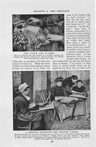 HOW PILLOW LACE MADE WORKER BRUSSEL MECHLIN BOBBIN c 1920  ILLUSTRATION PRINT
