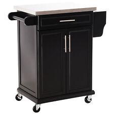Kitchen Cart Storage Trolley Towel Rail with Drawer Cupboard Black Steel