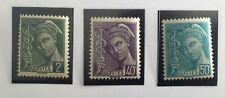 Timbres France YT 405, 413, 414 neufs**. Type Mercure. 1938/41. Sous plastiques