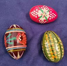 Russian Polish Slovakian Easter Eggs Hand Painted Wood Colorful Flowers Lot Of 3