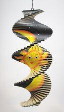 Spirale à vent en bois Soleil et Lune Noir - 40x16 - Mobile - carillon