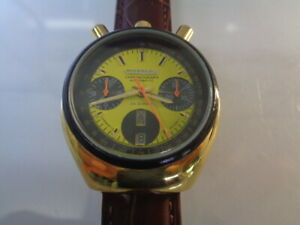 Citizen Chronograph Mens Watch Day & Date Auto 8110 Bullhead Gold Plated Yellow