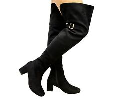 Ladies Womens Block Mid Heel Thigh High Over The Knee Wide Calf BOOTS Shoes Size UK 6 / EUR 39 / US 8 Black Suede Buckle