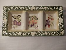 Wcl China Ceramic Pottery White Scroll Fruit Design 3 Compartment Condiment Dish
