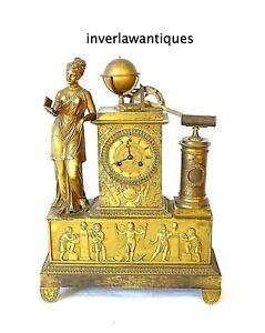 Regency Period Empire Gilt Bronze Figural Mantel Clock 1795-1837