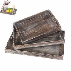 US Serving Trays Rustic Trays Wood Nesting Tray Cutout Handles Set of 3 Handmade