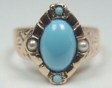 Antique Victorian Persian Turquoise Ring 14K Yellow Gold Ring Size 6 UK-L1/2