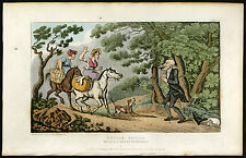Antique Print-DOCTOR SYNTAX-WOOD-HORSES-BOUND-Rowlandson-Combe-1819