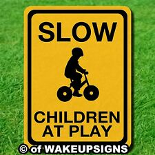 """SLOW DOWN CHILDREN AT PLAY ALUMINUM METAL SIGN 9"""" X 12"""" OUTDOOR PROTECT CHILD"""