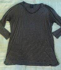 Super Soft Gap Maternity Large Black White Stripes Cotton 3/4 Sleeve Shirt