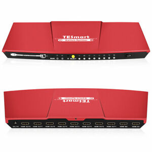 4K@30Hz 2x8 HDMI Switch Splitter Hub 2 in 8 out 3D IR Remote 1080P HDCP 1.4