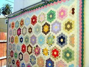Vintage 40's 50's Flower Garden Quilt Hand stitched feedsack fabrics