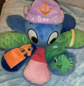 "Lakeshore Peek A Boo Octopus Plush Blue 17"" Stuffed Animal Baby Rattle 2 Friends"