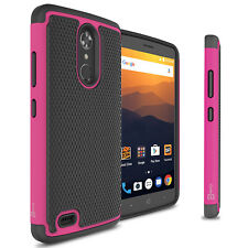 Hot Pink / Black Hard Case for ZTE Max XL Hybrid Phone Cover