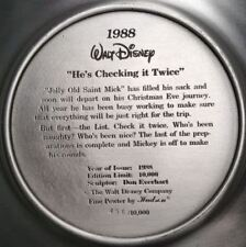 "Fine Pewter Plate, The Walt Disney ""He's checking it up twice"", Limit #456"
