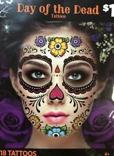 Halloween Body Art Temporary Tattoo -Face Neck - DAY OF DEAD FLOWERS