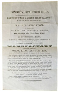 1865 - EARTHENWARE & CHINA MANUFACTORY, Longton, Staffordshire.