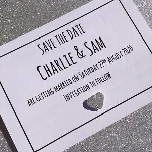 Glitter Heart Personalised Handmade Save The Date Cards & Envelopes. Jenny
