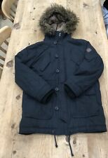 Men's Hollister Small Black Parka Jacket Coat Winter Hooded Detachable Faux Fur