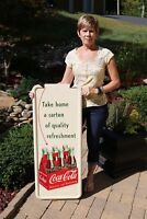 "VINTAGE 50's COCA COLA SODA ""6 PACK ARROW"" SODA DRINK PILASTER SIGN MINTY NOS"