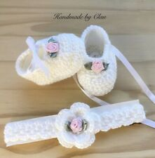 Handmade Crochet Booties and Headband  Baby Set    Baby shoes 0-3 months  white