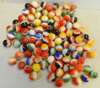 #12335m Vintage Group or Bulk Lot of 100 Mostly Vitro Agate All Red Marbles