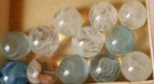 "12 Beautiful, Lutz Swirl, Vitro Agates Marble's .59"" Orange, White & Light Blue"