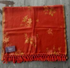 Gorgeous $195 Sabira 100% Wool Stole – Rust with Floral Pattern  - New