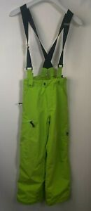 Spyder Boys Overall Suspenders Insulated Snow Pants Youth Size 14 Neon Green