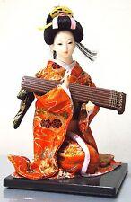 Beautful Japanese Doll Geisha Doll In  Orange Kimono&Gu Qin 22cm High(512)
