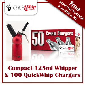 100 QuickWhip Chargers & compact 125ML Whipper - Dispenser - metal head - RED