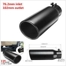 76.2-102mm Auto Car Black Stainless Steel Exhaust Pipe Muffler Tip Tail Throat