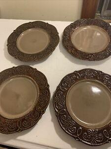 "Lot of 4 Elama's Salia Stoneware Luxury Dinnerware 8 1/2"" Luncheon Plates"