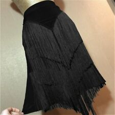 Women Ladies Ballroom Latin Skirt Tango Salsa Dance Fringes Tassels Black New