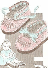 Vintage Crochet PATTERN to make Baby Booties Soft Shoes Mary Janes Tie AnneCabot