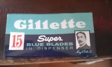 vintage gillette 15 super blue blade pack for safety razor in dispenser SW
