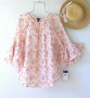 New~Peach & Pink Floral Peasant Blouse Ruffle Sleeve Cotton Boho Top~Size XL