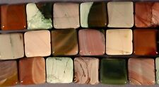 """HIGH QUALITY IMPERIAL JASPER 16MM SQUARE BEADS  15.5"""" STR GREEN PINK TAN"""