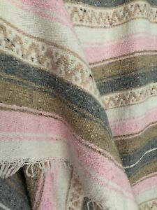 MEXICAN FALSA BLANKET - BABY PINK, GRAY, TAUPE & WHITE - DORM TWIN BEDDING