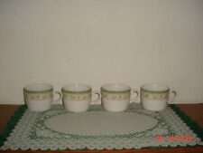 "4-PC PFALTZGRAFF ""FRENCH QUARTER"" COFFEE CUPS/WHT-GRN-ORG-YEL/CHINA/FREE SHIP!"