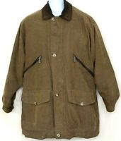 Vtg London Fog Mens Barn Coat Brown Beige Jacket Leather Collar Button Zip M Reg