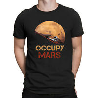 Occupy Mars Starman Vintage Graphic Tee Men's Cotton Black Navy T-Shirt