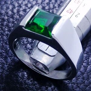 Handmade Solitaire Men's 7.10 Carat CZ Princess Cut 925 Silver Wedding Band Ring