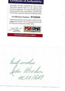 John Wooden Autographed 3x5 Card UCLA Bruins Basketball Hall of Fame Coach PSA